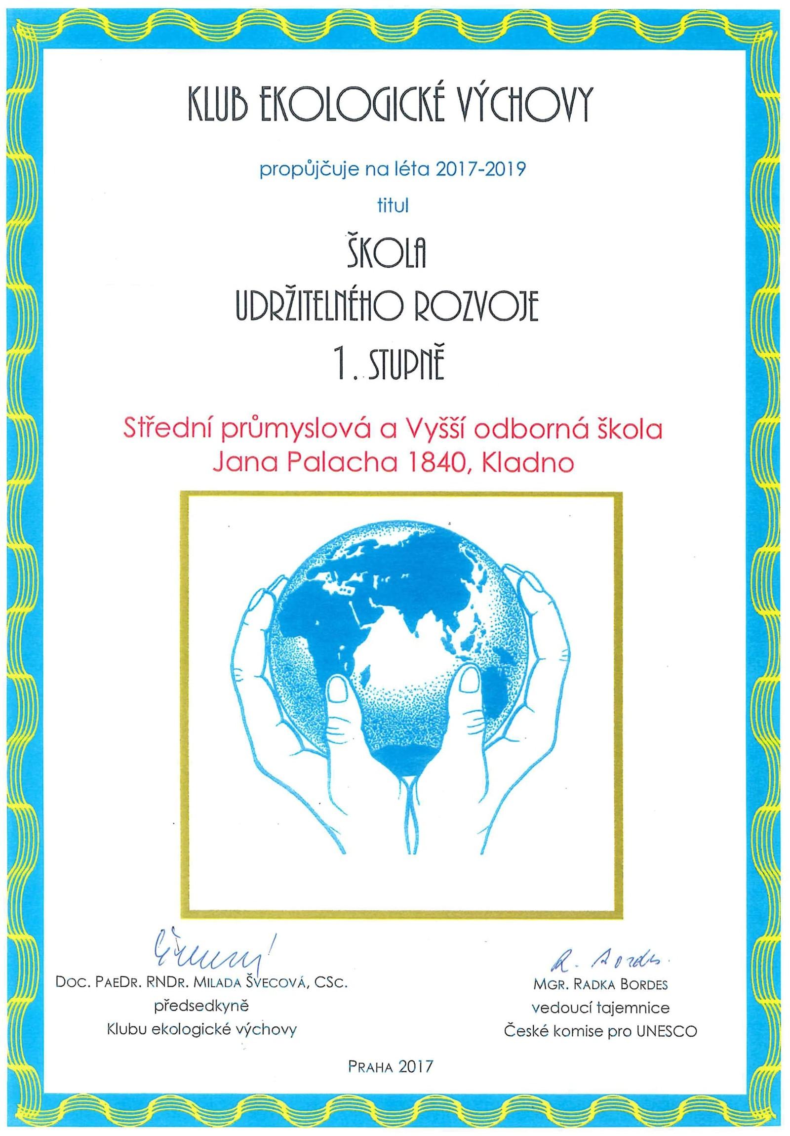 Diplom KEV Škola udržitelného rozvoje