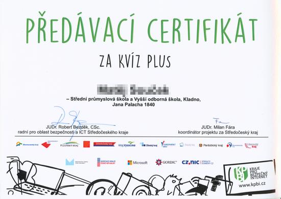 Předávací certifikát Kvíz plus